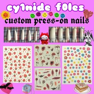Other - CUSTOM PRESS ON NAILS goth strawberries flowers